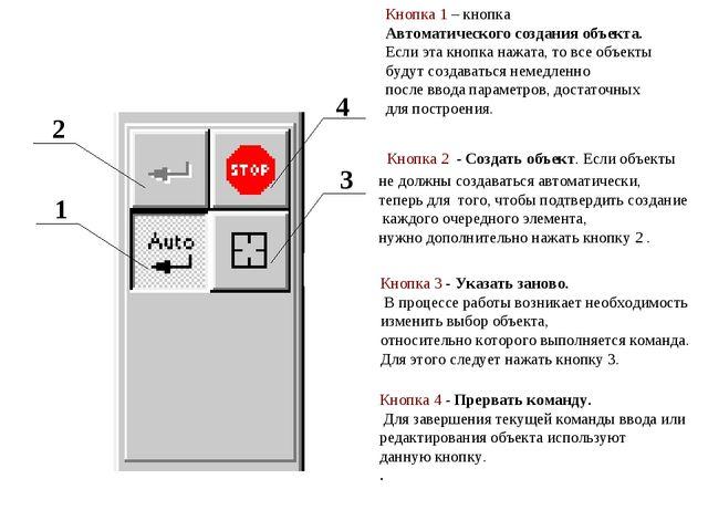 Кнопка 1 – кнопка Автоматического создания объекта. Если эта кнопка нажата, т...