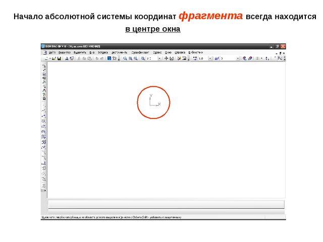 Начало абсолютной системы координат фрагмента всегда находится в центре окна
