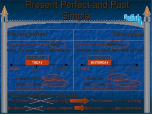 Present Perfect and Past Simple Present perfect is not used The Chinese have