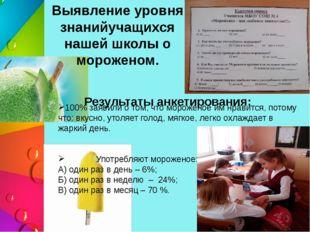 Выявление уровня знанийучащихся нашей школы о мороженом. Результаты анкетиров