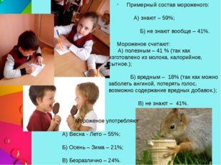 Примерный состав мороженого: А) знают – 59%; Б) не знают вообще – 41%. Морож