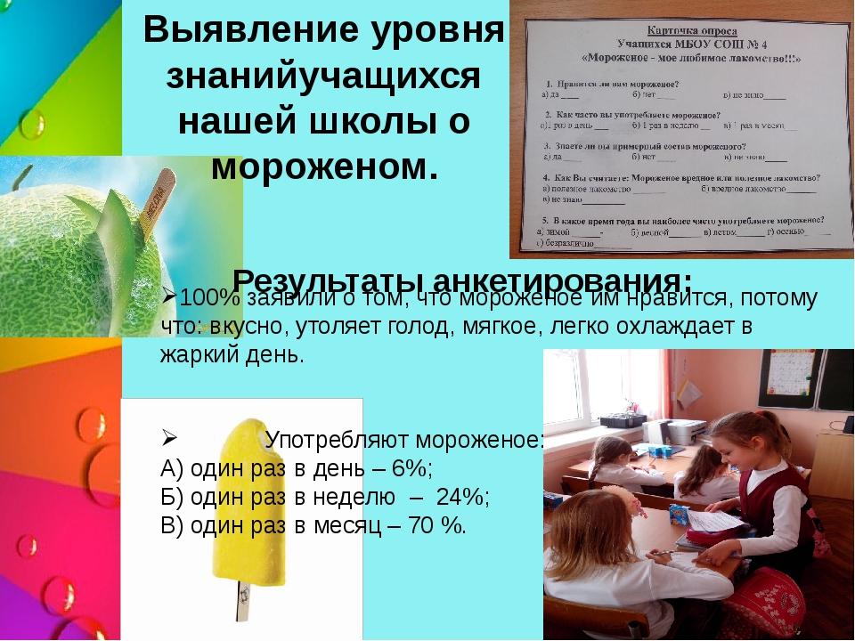 Выявление уровня знанийучащихся нашей школы о мороженом. Результаты анкетиров...