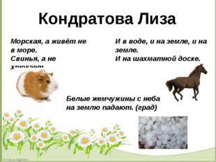 Кондратова Лиза Морская, а живёт не в море. Свинья, а не хрюкает. И в воде,