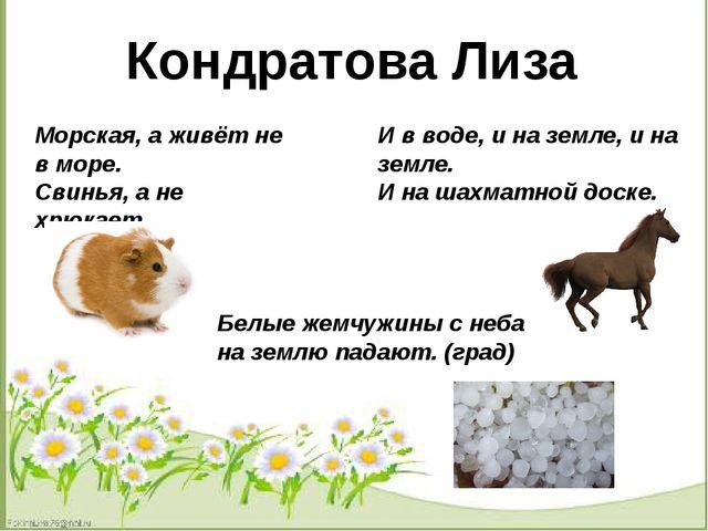 Кондратова Лиза Морская, а живёт не в море. Свинья, а не хрюкает. И в воде,...