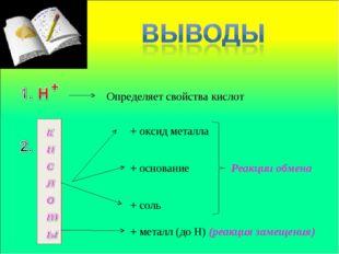 Определяет свойства кислот + основание + соль + оксид металла + металл (до Н)