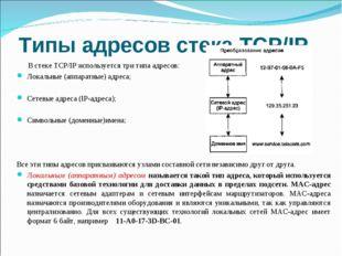 Типы адресов стека TCP/IP В стеке TCP/IP используется три типа адресов: Локал