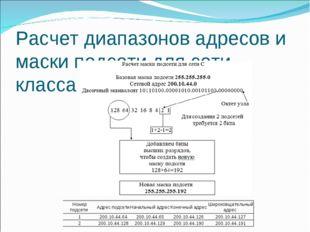 Расчет диапазонов адресов и маски подсети для сети класса С Номер подсети Ад