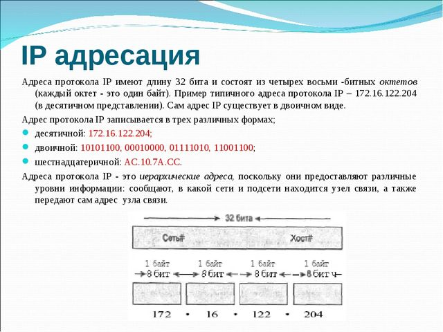IP адресация Адреса протокола IP имеют длину 32 бита и состоят из четырех вос...