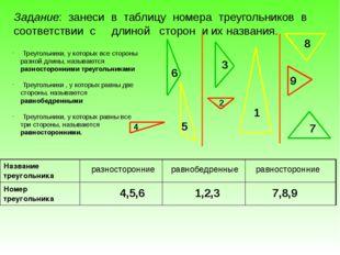 4,5,6 1,2,3 7,8,9 равнобедренные равносторонние Задание: занеси в таблицу ном