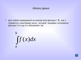Итоги урока Для любой непрерывной на отрезке [a;b] функции f sn при n стремит