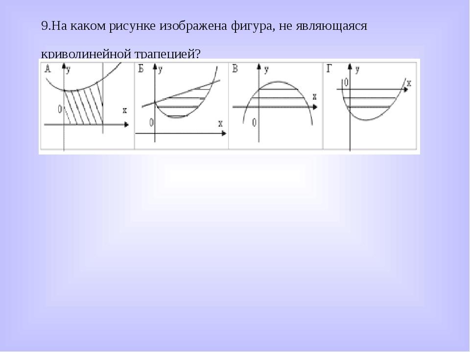 9.На каком рисунке изображена фигура, не являющаяся криволинейной трапецией?