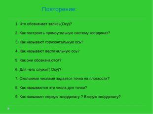 Повторение: 1. Что обозначает запись(Оxy)? 2. Как построить прямоугольную си