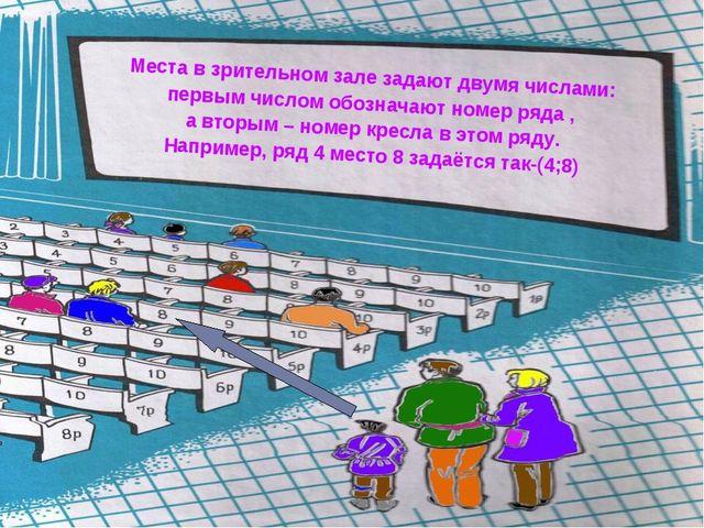 Места в зрительном зале задают двумя числами: первым числом обозначают номер...