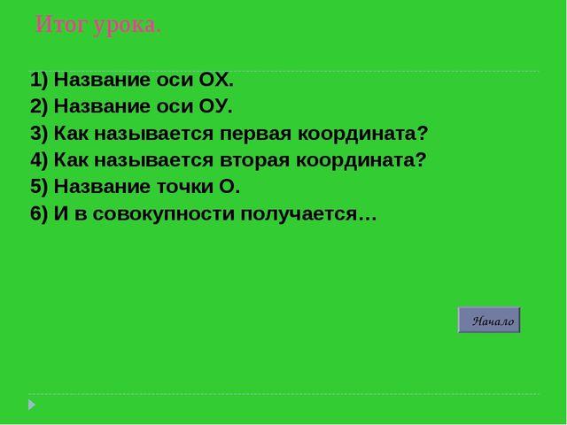 Итог урока. 1) Название оси ОХ. 2) Название оси ОУ. 3) Как называется первая...