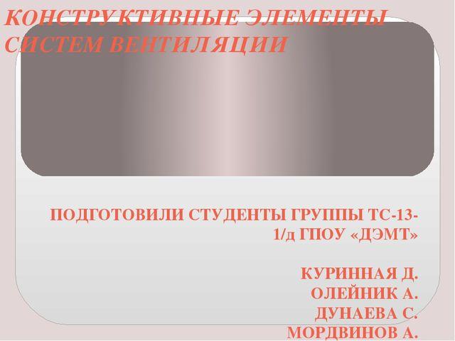 КОНСТРУКТИВНЫЕ ЭЛЕМЕНТЫ СИСТЕМ ВЕНТИЛЯЦИИ ПОДГОТОВИЛИ СТУДЕНТЫ ГРУППЫ ТС-13-1...