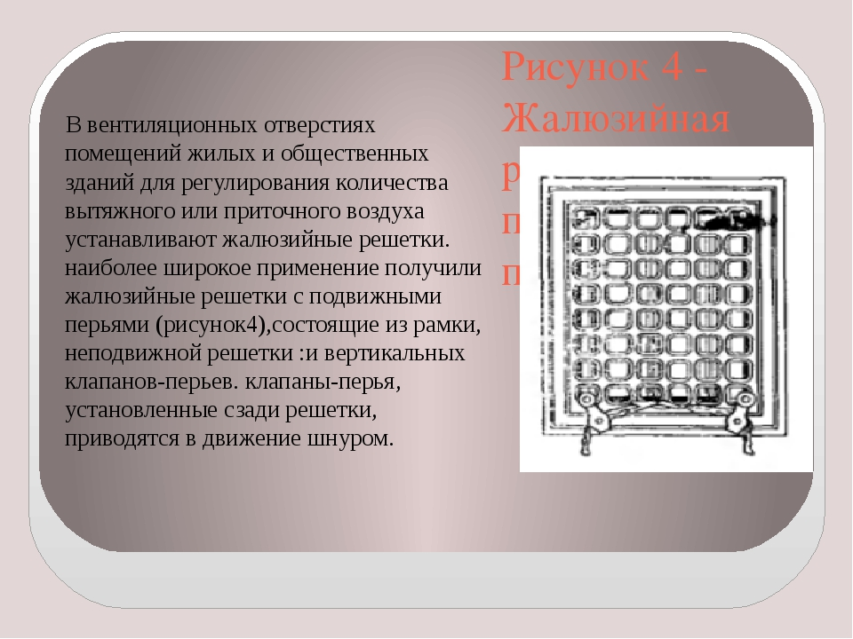 Рисунок 4 - Жалюзийная решетка с подвижными перьями В вентиляционных отверсти...