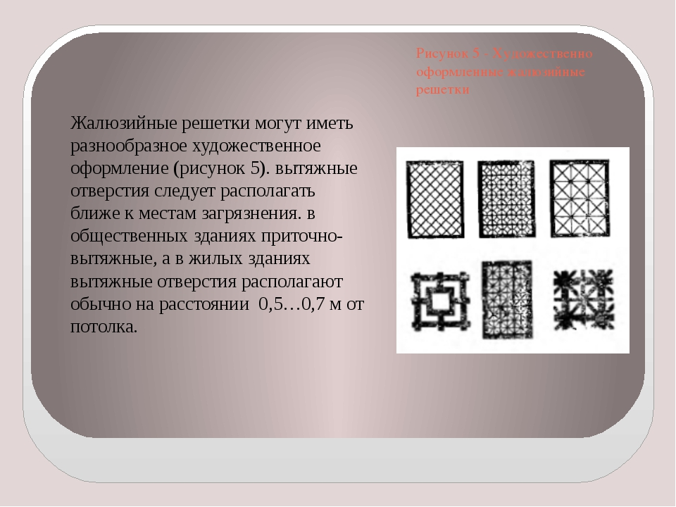 Рисунок 5 - Художественно оформленные жалюзийные решетки Жалюзийные решетки м...