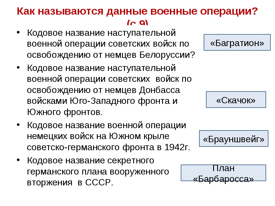 Как называются данные военные операции?(с.9) Кодовое название наступательной...