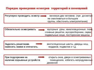 Порядок проведения осмотров территорий и помещений Регулярно проводить осмотр