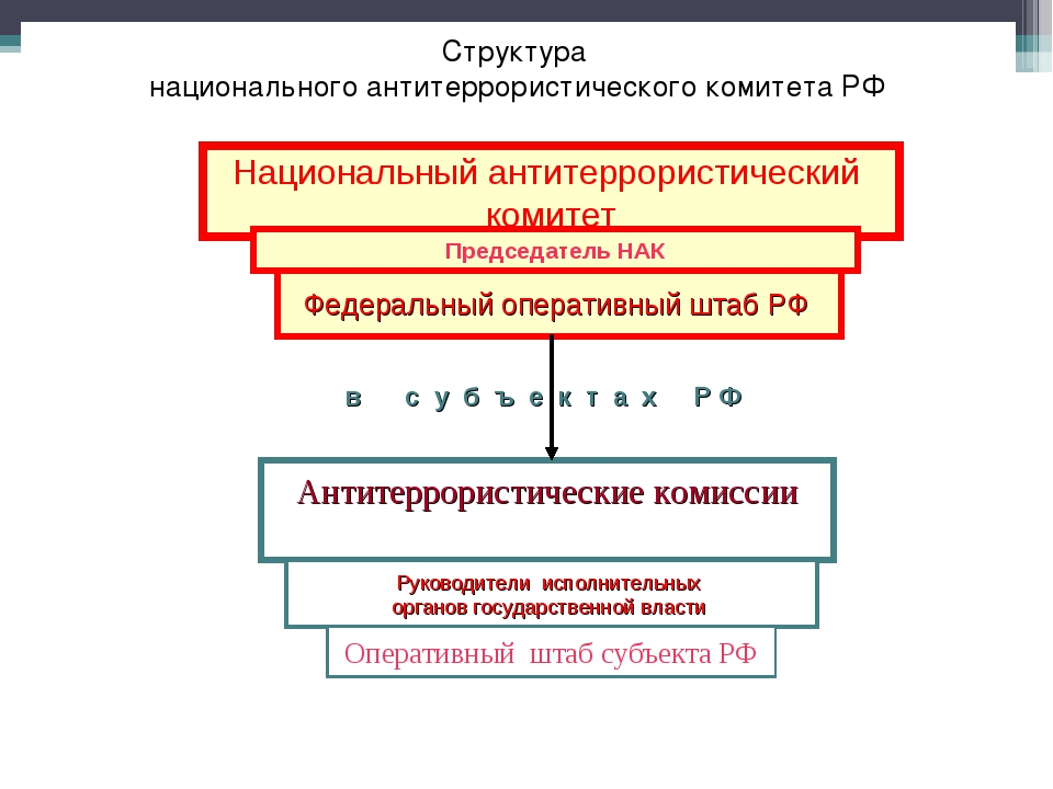 Структура национального антитеррористического комитета РФ Национальный антите...