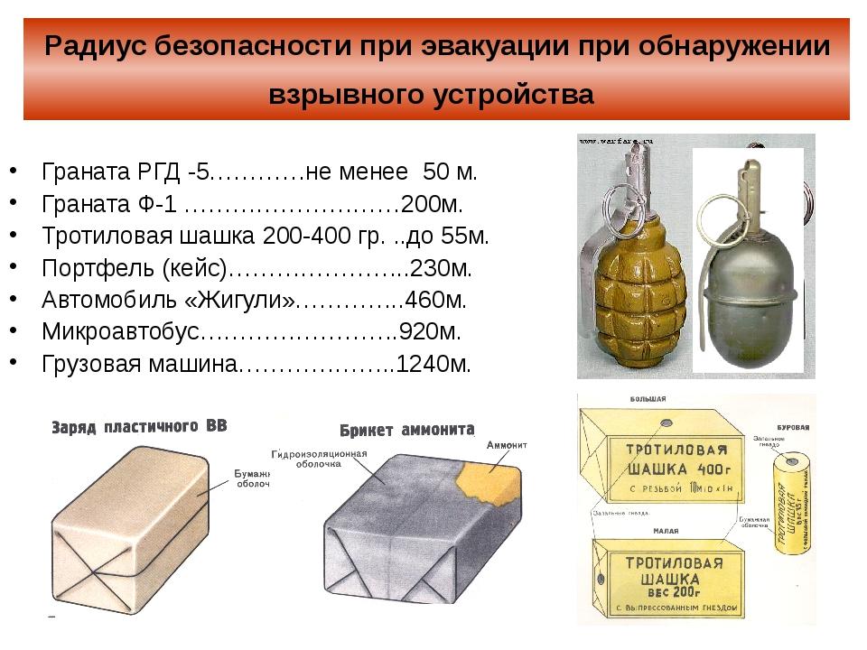 Радиус безопасности при эвакуации при обнаружении взрывного устройства Гранат...