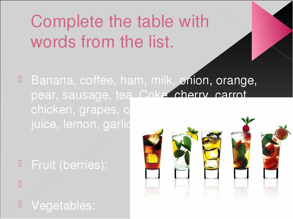 Complete the table with words from the list. Banana, coffee, ham, milk, onion...
