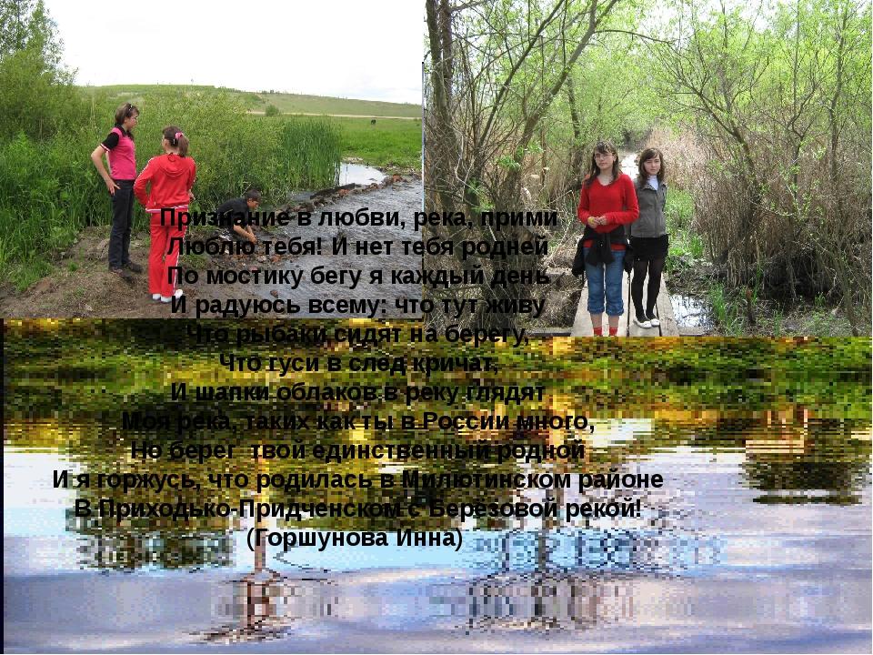 Признание в любви, река, прими Люблю тебя! И нет тебя родней По мостику бегу...