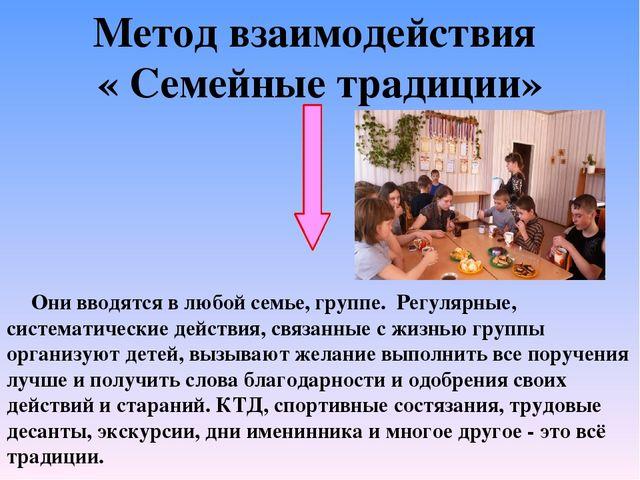 Метод взаимодействия « Семейные традиции» Они вводятся в любой семье, группе....