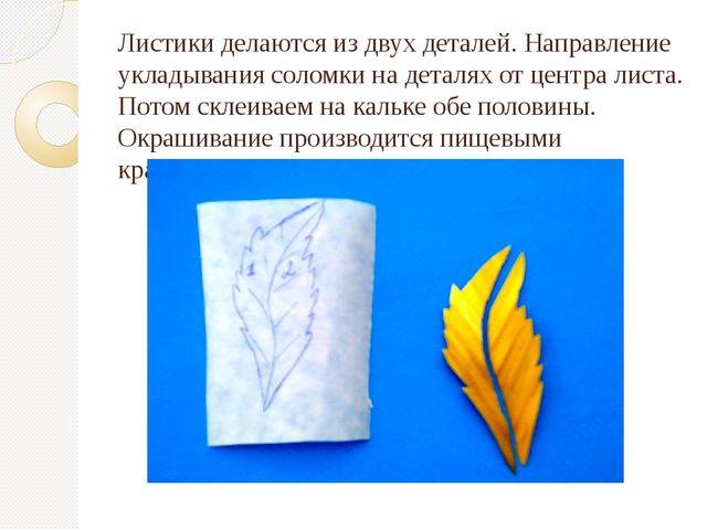 Листики делаются из двух деталей. Направление укладывания соломки на деталях...