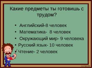 Какие предметы ты готовишь с трудом? Английский-8 человек Математика- 8 челов