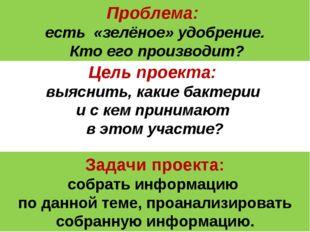 Проблема: есть «зелёное» удобрение. Кто его производит? Цель проекта: выяснит