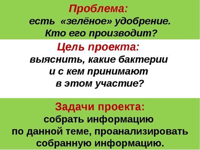 Проблема: есть «зелёное» удобрение. Кто его производит? Цель проекта: выяснит...