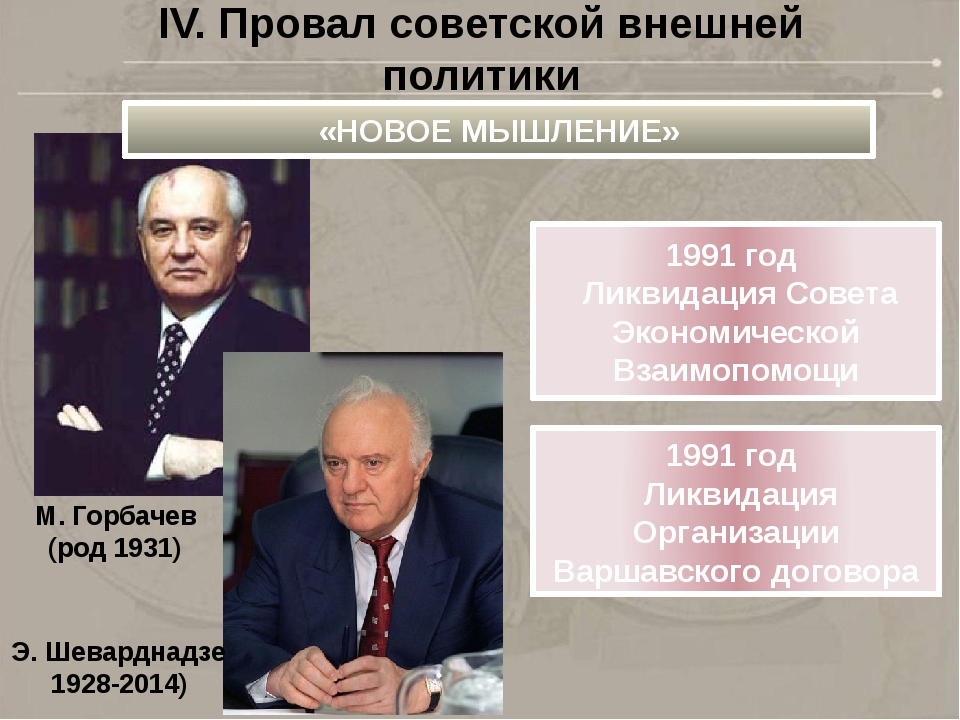 IV. Провал советской внешней политики «НОВОЕ МЫШЛЕНИЕ» 1991 год Ликвидация Со...