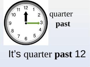 quarter past It's quarter past 12
