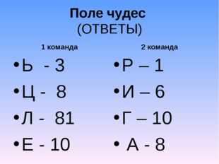 Поле чудес (ОТВЕТЫ) 1 команда Ь - 3 Ц - 8 Л - 81 Е - 10 2 команда Р – 1 И – 6