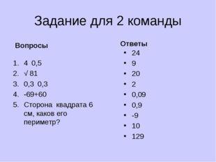 Задание для 2 команды Вопросы 4۰0,5 √ 81 0,3۰0,3 -69+60 Сторона квадрата 6 см
