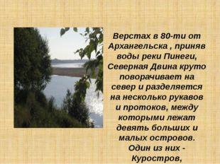 Верстах в 80-ти от Архангельска , приняв воды реки Пинеги, Северная Двина кру