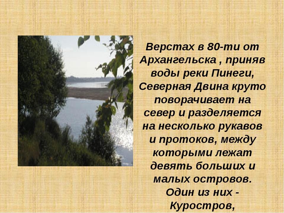 Верстах в 80-ти от Архангельска , приняв воды реки Пинеги, Северная Двина кру...