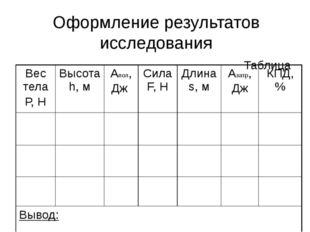 Оформление результатов исследования Таблица Вес тела Р, Н Высотаh,м Апол, Дж