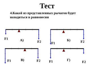 Тест 4.Какой из представленных рычагов будет находиться в равновесии F1 F2 F1