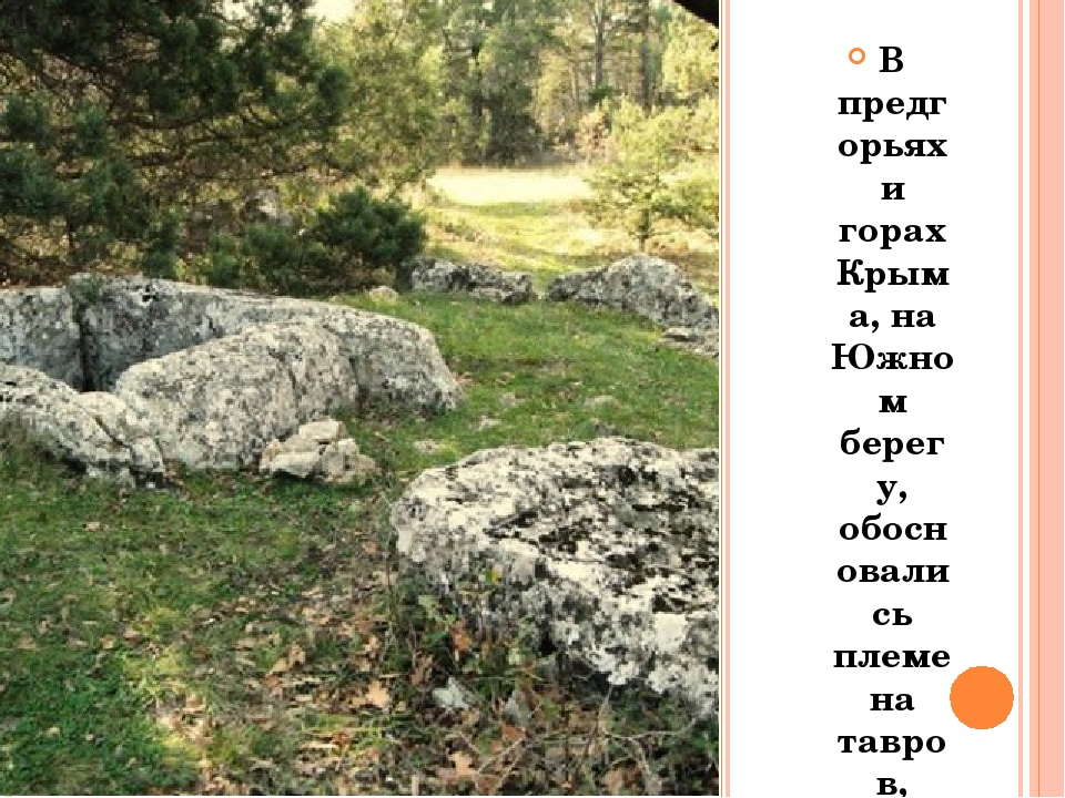 В предгорьях и горах Крыма, на Южном берегу, обосновались племена тавров, пе...