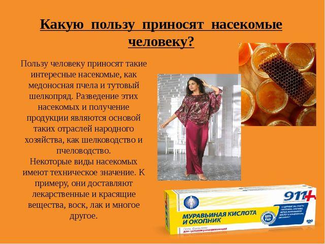 Какую пользу приносят насекомые человеку? Пользу человеку приносят такие инте...
