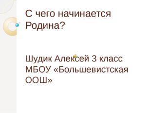 С чего начинается Родина? Шудик Алексей 3 класс МБОУ «Большевистская ООШ»
