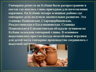 Гончарное ремесло на Кубани было распространено в местах где имелась глина пр
