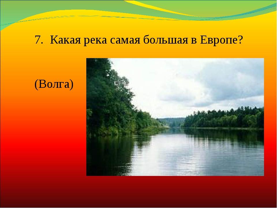 7. Какая река самая большая в Европе? (Волга)