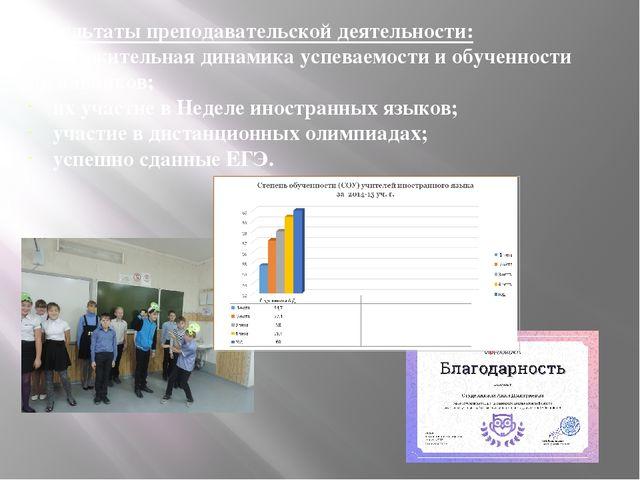 Результаты преподавательской деятельности: - положительная динамика успеваемо...
