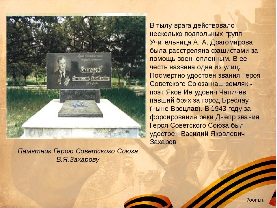 Памятник Герою Советского Союза В.Я.Захарову В тылу врага действовало нескол...