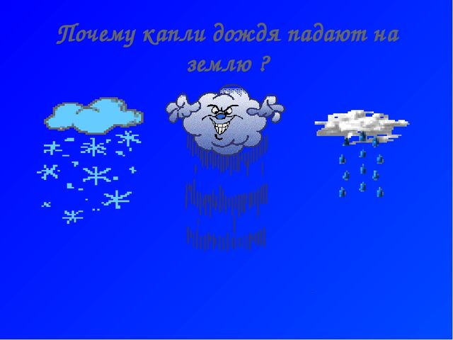 Почему капли дождя падают на землю ?