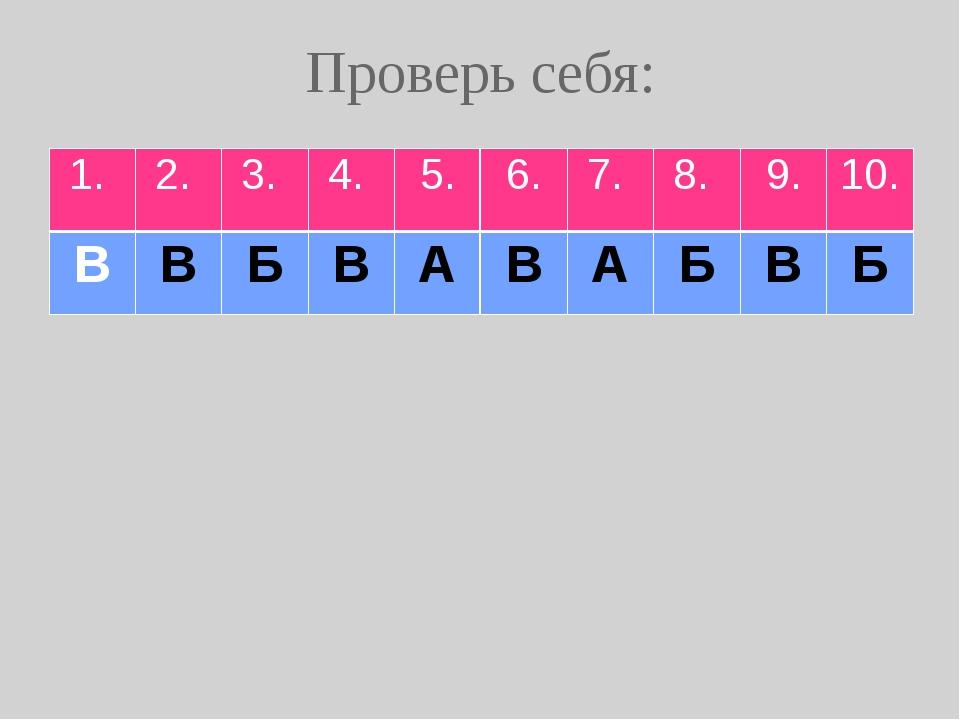 Проверь себя: 1. 2. 3. 4. 5. 6. 7. 8. 9. 10. В В Б В А В А Б В Б