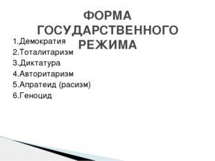 1.Демократия 2.Тоталитаризм 3.Диктатура 4.Авторитаризм 5.Апратеид (расизм) 6.